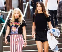 Alexandra Spencer in a vintage rock and roll t-shirt and striped pants with Bambi Northwood Blyth