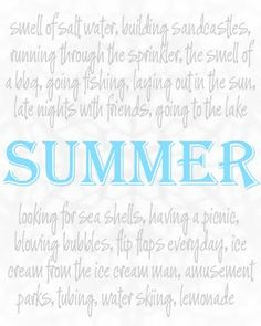 Coffee and their Kisses: Summer Memories Printable