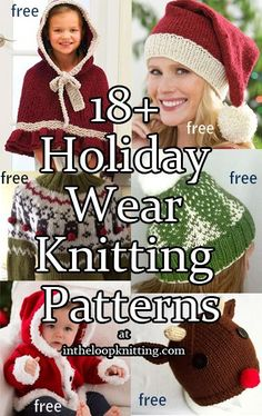 Knitting Patterns for Holiday Wear including hats, sweaters, baby outfits, santa, and more. Most patterns are free Loom Knitting, Free Knitting, Free Baby Sweater Knitting Patterns, Baby Hats Knitting, Free Christmas Knitting Patterns, Knitted Hats, Christmas Patterns, Crochet Santa, Holiday Crochet