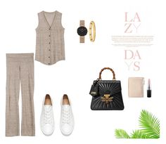 """Lazy but Stylish day"" by frontrowshop ❤ liked on Polyvore featuring Front Row Shop, Lazy Days, Gucci, Thacker NYC, MAC Cosmetics, Daniel Wellington and Tory Burch"