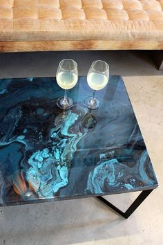 Coffee Table #resin #marble #blue #lifestyle