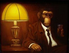 Bourbon is an original oil painting by Richard Lithgow in dark shades portraying a chimpanzee in a suit drinking alcohol on a sofa chair under a banker's lamp.