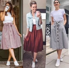 skirt and sneakers outfit casual skirt and sneakers outfit Girls Fashion Clothes, Modest Fashion, Fashion Dresses, Clothes For Women, Skirts For Women, Long Skirt Fashion, Modest Dresses, Stylish Dresses, Casual Dresses