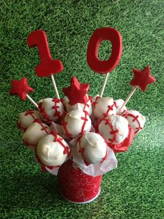Baseball birthday cake pops
