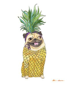 Pineapple Pug Art Print by ChickenpantsStudio