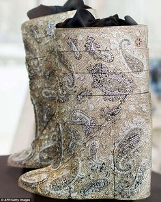 The value of the diamond-encrusted boots is estimated to be million euros, or about making them the most expensive pair ever to have been made. Most Expensive, Cowboy Boots, Fashion Shoes, Reusable Tote Bags, Gold, Footwear, Fancy, Pairs, Luxury
