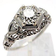 Antique Engagement Rings Art Deco Old Euro Diamond 18K White Gold Filigree