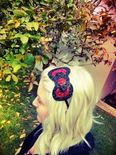 hello kitty glitter bow headband