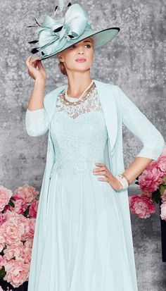 Veni Infantino Aqua dress with lace detail and matching jacket, style 008971