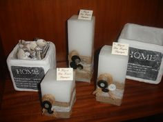 White scented candles with burlap,white lace and black and white buttons