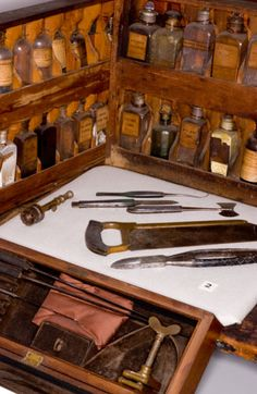 """Original Pinner, """"Surgical tools used by Dr. Newsom Jones Pittman of Tarboro, believed to have served in the North Carolina infantry brigade. Diana Gabaldon Outlander Series, Outlander Book, Vintage Medical, Civil War Photos, Instruments, Medical History, Medical Equipment, Survival, Past Life"""