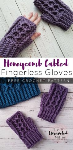 Honeycomb Cabled Fingerless Gloves | Free Crochet Pattern | The Unraveled Mitten