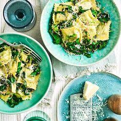 Ravioli with buttered lemon greens