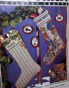 Vintage Cross Stitch Magazine Pattern Book Country Crafts Americana Stockings   eBay