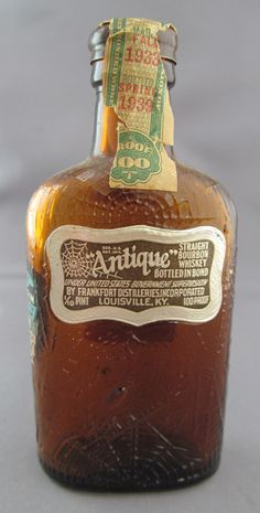 "Antique Straight Bourbon Whiskey Miniature Liquor Bottle  (""Antique"" Brand Mini Bottles, Bottled in Bond, Frankfort Distilleries Inc, Louisville, Kentucky, 1935)"