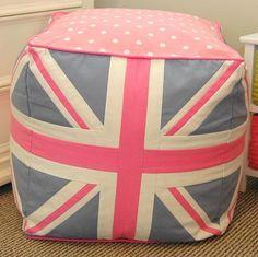 Union Jack Pouffe - Pink