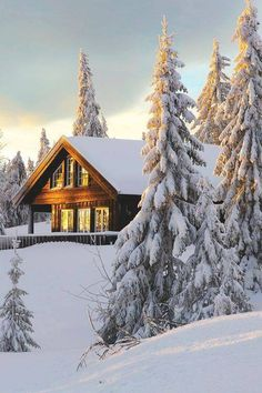 SEASONAL – WINTER – a new-fallen snow appears so peaceful, but still gives me the chills at this snow cabin in sjusjoen, norway, photo via spiritof. Winter Szenen, Winter Cabin, Norway Winter, Winter Sunset, Snow Cabin, Cozy Cabin, Cabin In The Woods, Cabins And Cottages, Log Cabins