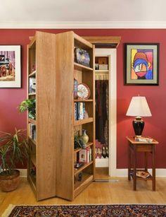 SECRET DOOR – It's a bookshelf. It's a secret door. It comes in standard and custom sizes. And it's a secret door that's a bookshelf! Secret Door Bookshelf, Bookcase Door, Bookshelves, Hidden Closet, Hidden Rooms, Secret Closet, Accordion Doors, Secret Rooms, Room Doors