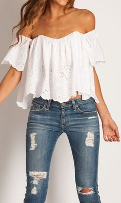 white off-the-shoulder top with distressed denim