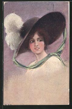 old postcard: AK Junge Schönheit mit Hut