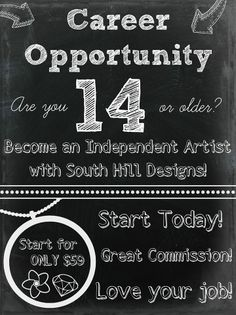 Are you 14 or older? You can join South Hill Designs. www.mycustomlocket.com Ask me how!