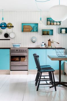 Danish summer cottage boasts a colorful mix of design classics and vintage flea finds - Turquoise kitchen Interior, Interior Design Kitchen, Cottage Design, Farmhouse Interior, Home Decor, Scandinavian Style Interior, Home Interior Design, Interior Design, Scandinavian Cottage
