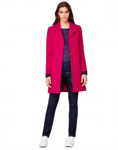 Lapel collar coat Fuchsia - Women | Benetton