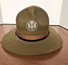 WWI-WWII-US-Army-Marines-Officer-Campaign-Hat-E-Pluribus-Unum-Pin-Olive-Green