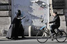 Darth Vader a spasso per le vie di Roma