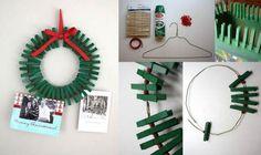 Guirlande de Noël DIY cadre photo avec pinces à linge