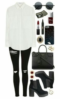 Un oufits casual Fashion Fashion, Fashion Outlet, Fashion Sale, Paris Fashion, Korean Fashion, Runway Fashion, Autumn Fashion, Fashion Trends, Saint Laurent Shoes