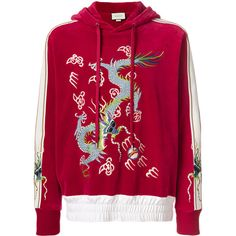 Gucci dragon appliqué velvet hoodie ($2,138) ❤ liked on Polyvore featuring men's fashion, men's clothing, men's hoodies, red, mens long hoodies, mens sweatshirts and hoodies and mens hoodies