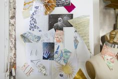 Artist Studio - A mood board featuring swatches of wallpaper