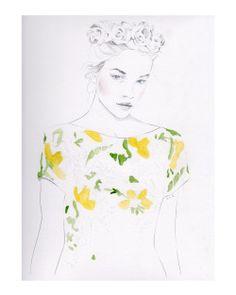 """Pattern Study #1""  Jenny Liz Rome  Pencil & Watercolor  Purchase the original here : https://www.etsy.com/listing/223637314/pattern-study-1-9x12-original-fashion?ref=shop_home_active_1"