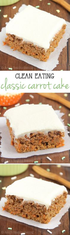 Clean-Eating Carrot Cake -- a healthy & easy, no-mixer-required recipe. The…