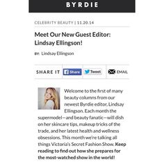 Have you heard? @lindsellingson has become a guest editor on @byrdiebeauty! Make sure to check out her pre #victoriassecretfashionshow #beauty must haves!