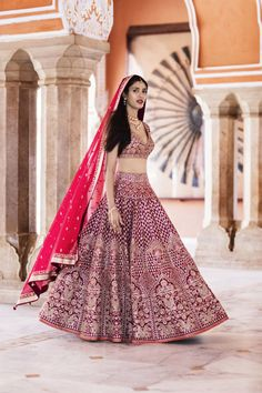Bridal Lehengas - Bride in a Marsala Lehenga with Golden Dull Embroidery and a Red Net Dupatta