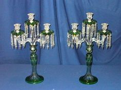 Pair Antique Baccarat Glass Candelabras  One of the great things about the vintage theme is that nothing needs to match to be beautiful :)