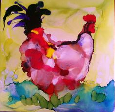$35, #7, Backyard Chicken. Painted with alcolhol ink, Gazing Tile 12 x 12. Can be framed, used in the yard or as a hotplate. If you want it as a hotplate I attach felt pads on back. You may purchase any of my paintings or tiles from my webstore or message me. www.mscharlenesart.webs.com
