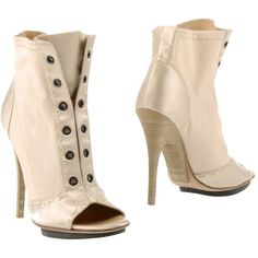 Giuseppe Zanotti Design Ankle Boots ($405) ❤ liked on Polyvore featuring shoes, boots, ankle booties, beige, ankle boots, spiked heel boots, beige boots, beige booties and open toe ankle booties