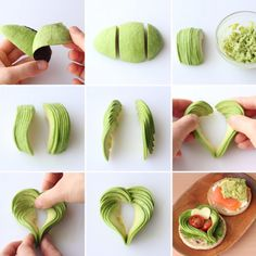 Avocado hearts for appetizersAvocado made pretty Cute Food, Yummy Food, Fruits Decoration, Food Plating Techniques, Decoration Patisserie, Creative Food Art, Food Garnishes, Garnishing, Vegetable Carving