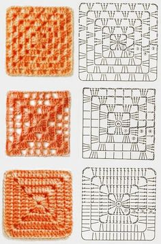 Very pretty Crochet Pillow. This is not in English, but the crochet diagram should be sufficient. Discover thousands of images about Crochet granny square baby blanket pillow cushion afghan throw blanket Crochet fabric is a very popular option for liningH Crochet Motifs, Crochet Blocks, Granny Square Crochet Pattern, Crochet Diagram, Crochet Chart, Crochet Squares, Diy Crochet, Crochet Patterns, Crochet Pillow