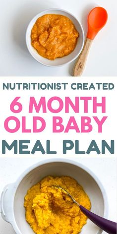 Step by step feeding schedule for you 6 month old with breakfast, lunch and dinner recipes (healthy, easy to make). With good amounts of protein, carbohydrates, fruits, vegetables. #6montholdbaby #newmom #motherhood #parenting