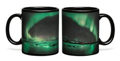 "You might not live near the aurora borealis, but you can now experience it every time you have a cup of coffee. ThinkGeek has created a special heat-changing mug that reveals the glorious sight of the Northern Lights, when it's filled with hot liquid. Left unheated, it simply displays a stunningly desolate landscape at the base of its handle. ThinkGeek points out that as caffeine roars through our bloodstream to ""make us bounce off walls,"" it shares a similarity with the Aurora Borealis…"
