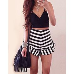 Wholesale Stylish Spaghetti Strap Tank Top + High-Waisted Striped Shorts Women's Twinset Only $7.67 Drop Shipping | TrendsGal.com