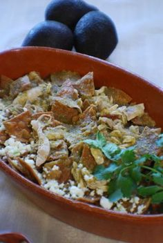 Barbara Adams Beyond Wonderful » Chilaquiles Verde (green sauce) with Chicken Recipe Authentic Mexican Recipe #mexican #recipes