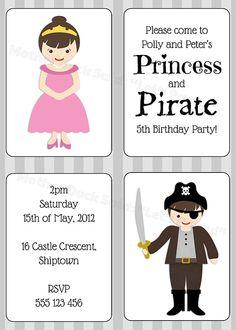 Princess and Pirate Twins Birthday Invitation