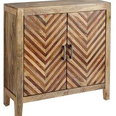 Herringbone wood cabinet