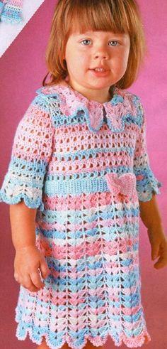 Ажурное платье для девочки крючком. Вяжем для девочки крючком красивое ажурное платье