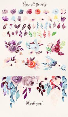 Cold colour flowers - watercolour